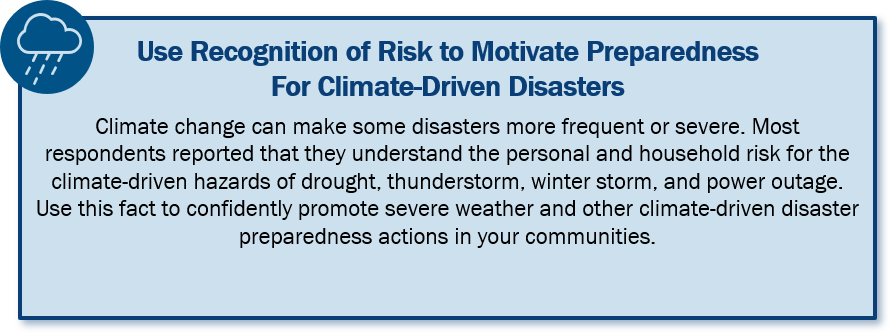 Use Recognition of Risk to Motivate Preparedness for Climate-Driven Disasters